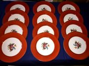 12 Vintage Noritake 11 Dinner Plates Floral Center W/red Rim Band And Gold Edge
