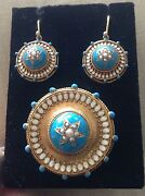 Antique Victorian 14k Gold Turquoise Enamel +pearl Brooch+matching Drop Earrings