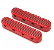 Holley 241-184 2-pc Ls Finned Valve Covers – Gloss Red Machined Finish Cast Alum