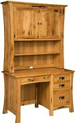 Amish File Computer Desk Hutch Small Student Solid Wood File Drawers 48w