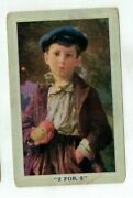Antique Art Post Card Little Boy Selling Apples 2 For 5