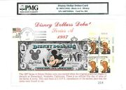Money Us 1 Disney Dollars 1987 First Day Stamp Cancel Debut Card Value 3000