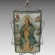 Antique Large Reliquary Copper Plaque Archangel Virgin Mary Silver Frame