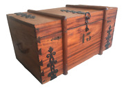 Rustic Antique Trunk With Metal Accents