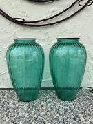 Vintage Anchor Hocking Teal Blue/green Tall Ribbed Art Deco Glass Vase 12.5 H