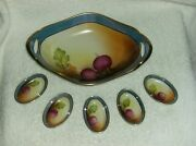 Made In Japan Hand Painted Noritake Celery Radish Plate With 5 Salts Rare Design