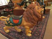 Antique Wooden Carved Carousel Lion Glass Eyes Mane Early 1900s Merry-go-round