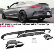 Fits 15-16 Benz C350 17 C300 Amg Style Chrome Exhaust Muffler Tips Rear Diffuser