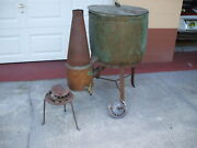 1800and039s Antique European French Gas Burner Washing Machine Copper And Brass