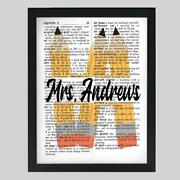 Personalized Teacher Pencils Upcycled Dictionary Art Print Unique Teachers Gift