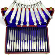 18pc Antique French Silver And Mother Of Pearl Handled Knife Set, Knives