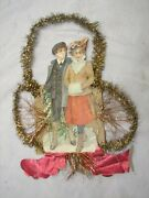 Early Victorian Couple Die-cut Paper Tinsel Christmas Tree Ornaments Ornate