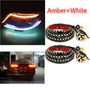 1 Pair Dual Colors Led Drl Headlight Eyebrow Sequential Turn Signal Strip Light