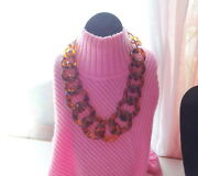 Vtg Runway Haute Couture Chunky Statement Faux Tortoise Shell Lucite Necklace