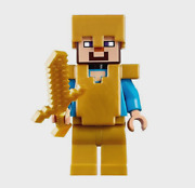 Lego Minecraft The Fortress Gold Steve W/ Armor / Helm Minifigure 21127 New