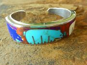 Signed Southwest American Sterling Silver Inlay Turquoise Bear Bangle