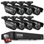 Zosi H.265+ 1080p Home Security Camera System Outdoor 8ch Dvr With Ir-cut 0-1tb
