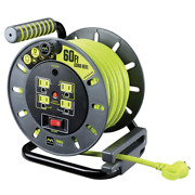 Masterplug 60ft Heavy Duty Extension Cord Open Reel With 4 120v / 10 Amp Outlets