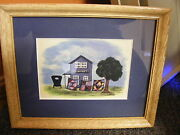 Amish Quilt Shop W/quilts And Buggy Scene Matted And Framed-11 X 9 Amish Made Frame