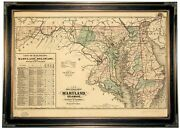 1876 Railroad Map Of Maryland, Delaware, And Dc Wood Framed Canvas Repro 19x28