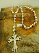 Large 30 Vintage Italian 10mm Sterling Silver Bead Rosary Prayer Necklace Rare