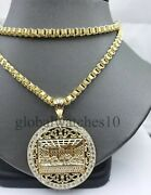 Real 10k Gold Last Supper Pendant Charm Jesus And Mens 10k Byzantine Box Chain Set