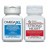 Bundle Pack Omega Xl 60 Count Joint Pain Omega 3 + Strong Heart 30 Count Omega 7