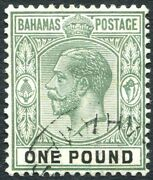Bahamas-1926 Andpound1 Green And Black Sg 125 Fine Used V30980