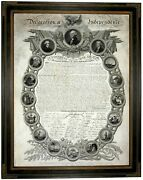 Declaration Of Independence 1776 Wood Framed Canvas Print Repro 18x24