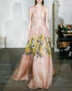 5790 New Lela Rose Floral Glossed Organza Illusion V Neck Gown Blush Pink 0 2