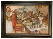 Larsson Christmas Eve 1904 Wood Framed Canvas Print Repro 12x18