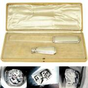 French Art Deco Era Sterling Silver Cut Glass Writing Desk Set, Wax Seal Stamp