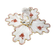 Herend Hungary Porcelain Dolphin And 4 Part Shell Centerpiece Apponyi Red Pattern