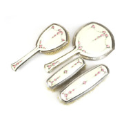 4 Piece Sterling Silver And Guilloche Enamel Vanity Set By R. Blackinton Company