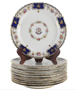 12 Spode Copeland China And039courage Et Fidelitasand039 Dinner Plates 200 Circa 1890