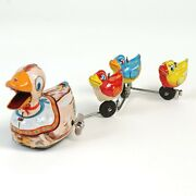 T.p.s. 1960s Tinplate Windup Toy Duck Family Parade With Outer Box Made In Japan