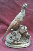 Bronze Pheasant With Chicks Signed J. Moigniez