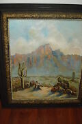Oil/canvas Signed Monogram Western Scene With Cactus And Mountains Circa 1920