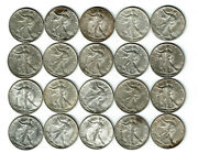 Mixed Date Walking Liberty Half Dollar Roll. 20 Coins. 1941-1945. Pds. Au-unc.