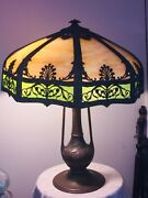 1920's Antique Eight Panel Slag Glass Lamp With Bronze Base