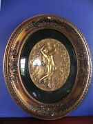 Matching Pair Antique Picture Frames Oval 16 X 19 Wood And Plaster Gold