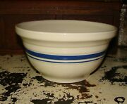Roseville Ohio 2 Qt Blue Band Ring Stripe Fp Usa Oven Proof Pottery Mixing Bowl