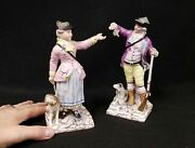 Pair Antique 18th C. Soft Paste Figurines English Or Continental Hallmarked H