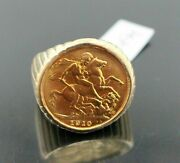 22k 22ct Solid Gold Mens Coin King George Ring Size 9.5 R1454