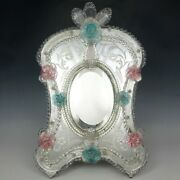 Large Venetian Art Glass Beveled Mirror Vanity Table Wall Pink And Blue Flowers
