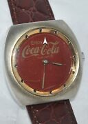 Vintage 1970's Rare Coca-cola Disappearing Appearing Logo Watch New Leather Band