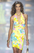 Versace Nwt Vintage Runway Ss04 Iconic Print Silk Skirt And Top Set It40