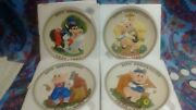 Disney 50th Anniversary Series-the Three Little Pigs Collector Plates Set Of 4