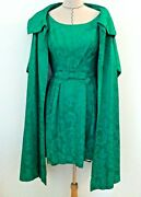 Vintage 60's Women Dress Coat Green Evening Occasion Floral Damask Size Xs S