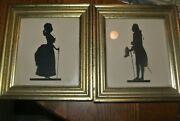 Vintage Pair Borghese Gold/gilt Framed Silhouette Picture Man And Woman